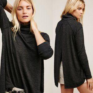 Free People Split Back Knit Turtleneck Sweater Grey XS